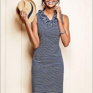 Talbots Ruffle V-Neck Striped Dress NWOT, medium